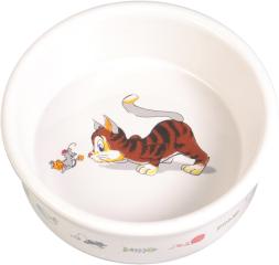 Bild von Artikel Napf Comic-Katze mit Maus, keramik 12cm, weiß
